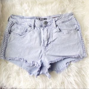 Kendall+Kylie braided denim high rise shorts